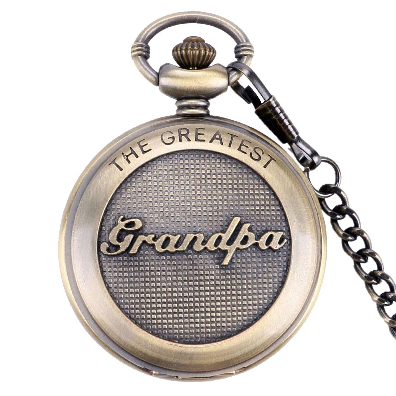 SwitchMe Retro Quartz Pocket Watch Japan Movement with Belt Clip Chain for Grandpa Bronze