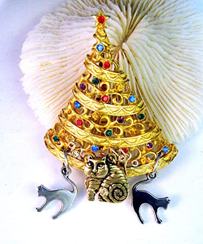 82fed5d02 Image Unavailable. Image not available for. Color: One of a Kind- Vintage  Laurel Burch Cat & Vintage JJ Rhinestone Christmas Tree Brooch