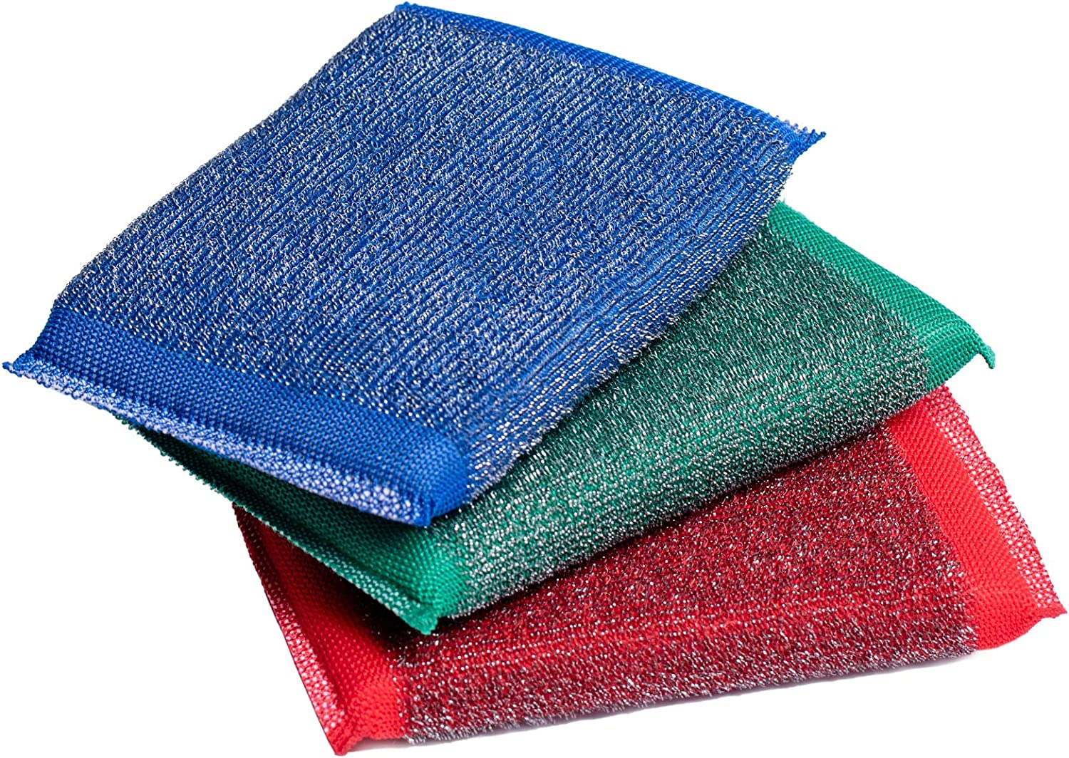 Blue & Green Iron Scouring Pads – Incredibly Tough, Heavy Duty & Long-Lasting Scrubbing Sponges. for Pots, BBQ Grills, Microwaves & Stovetops (3)