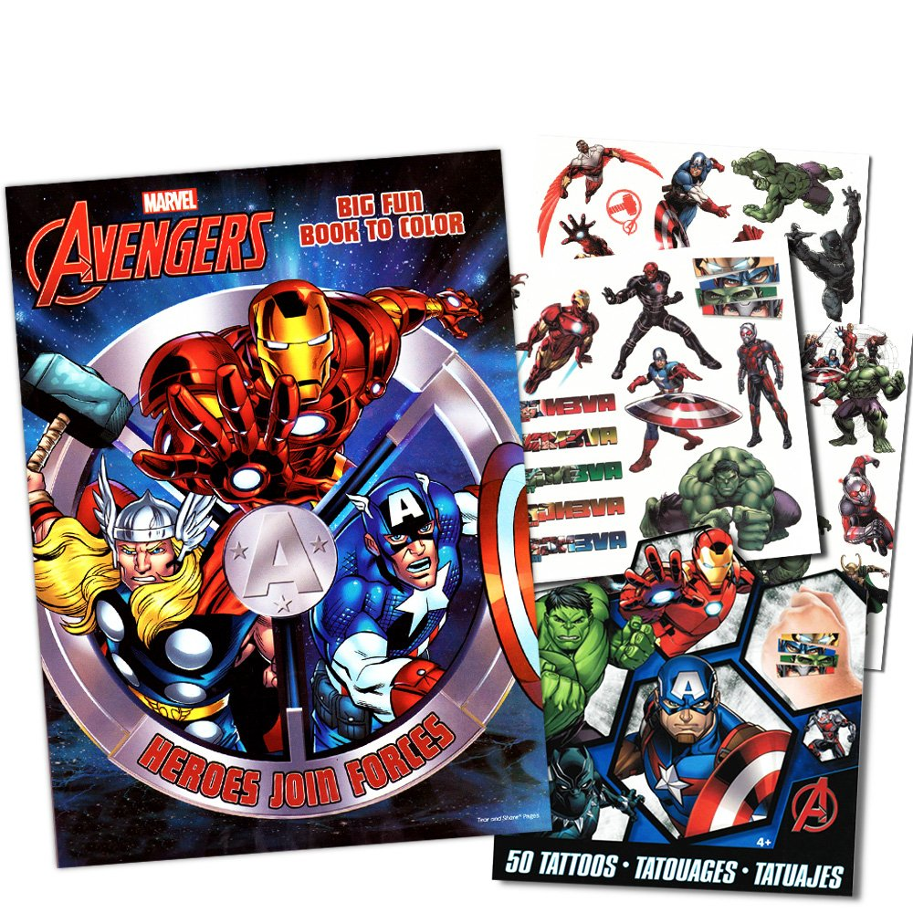 Marvel Avengers Coloring /& Activity Book with Temporary Tattoos: Spider-man Thor Captain America The Incredible Hulk Iron Man