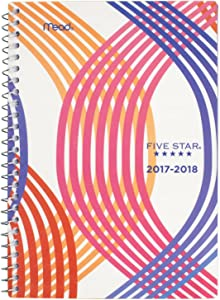 """Five Star Student Academic Weekly/Monthly Planner, August 2017 - July 2018, 5-1/2"""" x 8-1/2"""", Style, Warm Wavy Design (CAW409D4)"""