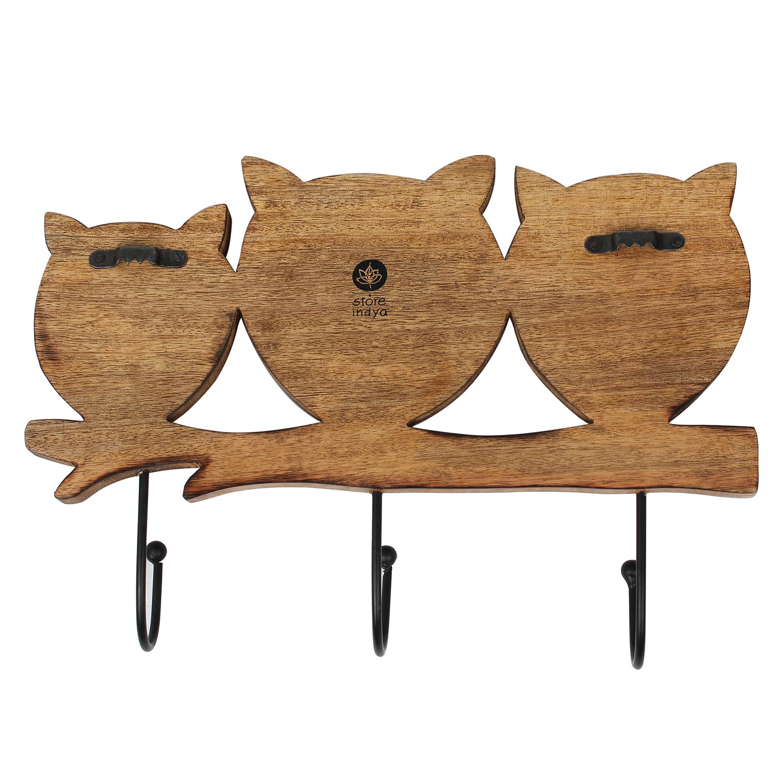 Store Indya – Wall Hooks Key Holders – Owl Wooden Coat Hangers by storeindya (Image #6)