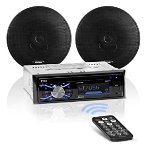 BOSS Audio Systems 656BCK Car Stereo Package - Single Din, Bluetooth, CD MP3 USB AM FM Radio, 6.5 Inch 2 Way Full Range Speakers