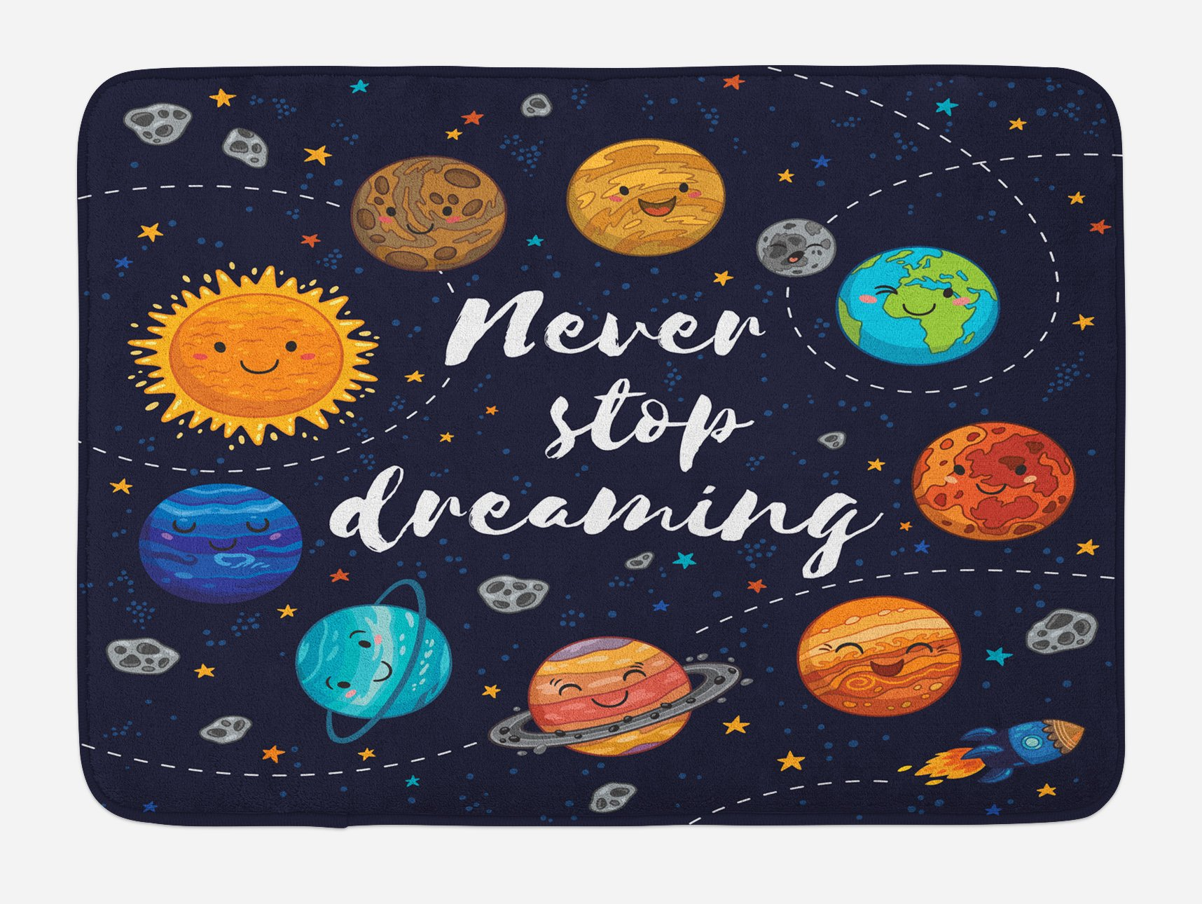 Ambesonne Quote Bath Mat, Outer Space Planets and Star Cluster Solar System Moon and Comets Sun Cosmos Illustration, Plush Bathroom Decor Mat with Non Slip Backing, 29.5 W X 17.5 W Inches, Multi