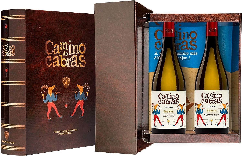 CAMINO DE CABRAS Estuche regalo - vino blanco - Albariño D.O. Rias Baixas - Producto Gourmet - Vino bueno para regalo - Vino Premium - 2 botellas x 75cl