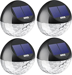AMIR Solar Fence Lights Outdoor, 4 Pack 22LM Deck Lights, Auto On-Off Dusk to Dawn Post Lights, Waterproof Solar Garden Decorative Step Light, for Wall, Pathway, Driveway, Patio, Yard, Garden (Black)