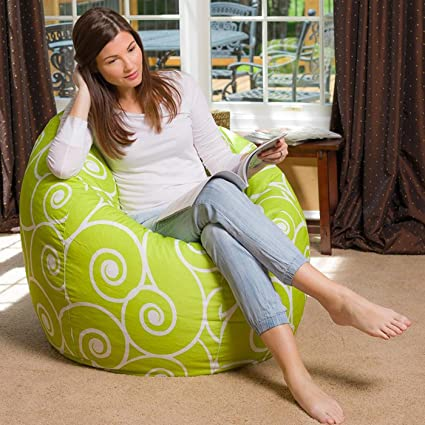 Style Scroll Design Cotton Canvas Printed Bean Bags, XXL (Multicolour)