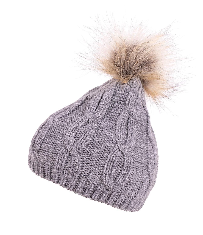 63c7ed4e3c2 Katherine Whitmore Faux Fur Pom Pom Cable Knit Beanie Grey at Amazon  Women s Clothing store