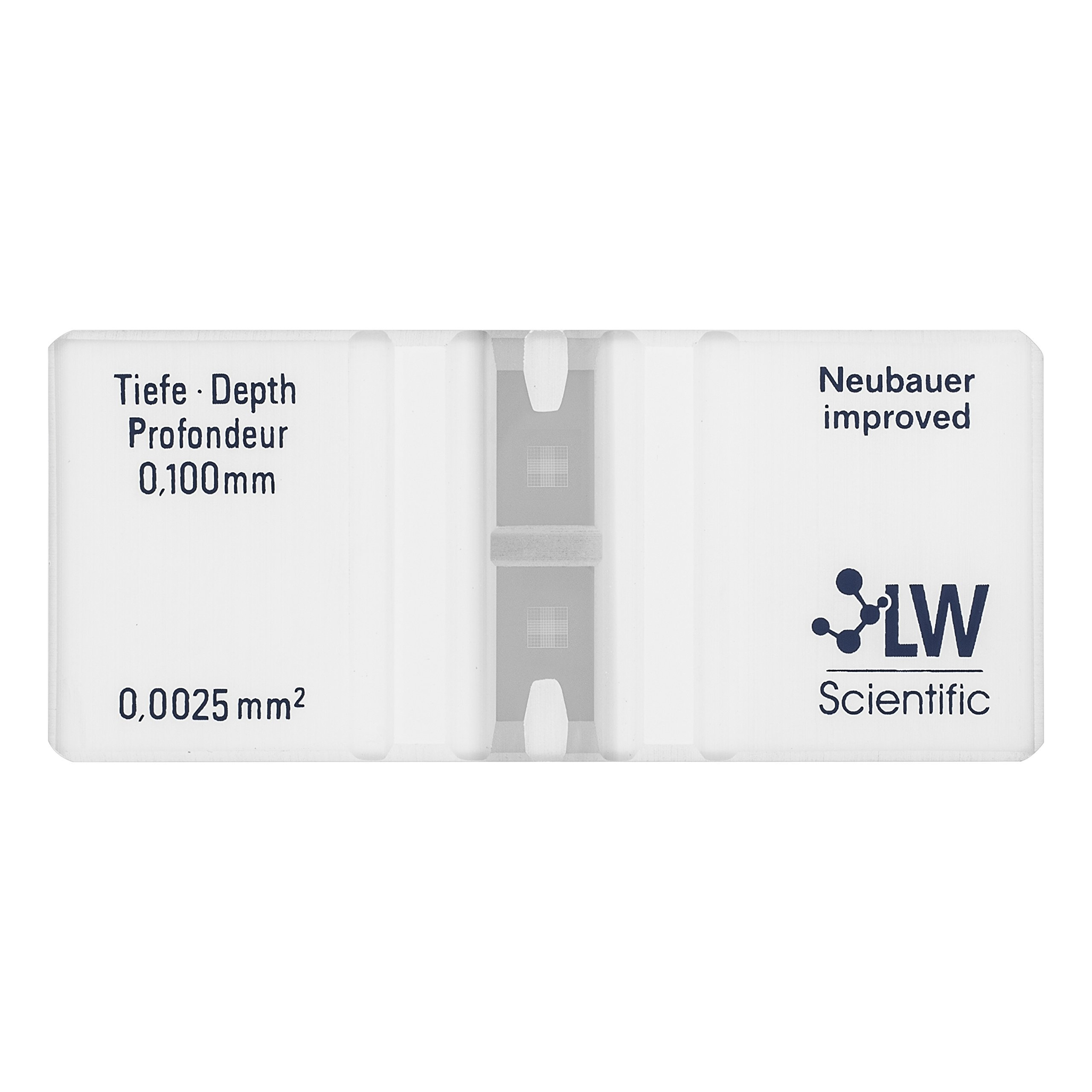 LW Scientific CTL-HEMM-GLDR Hemacytometer, Neubauer Bright Line, Double-Counting Chamber