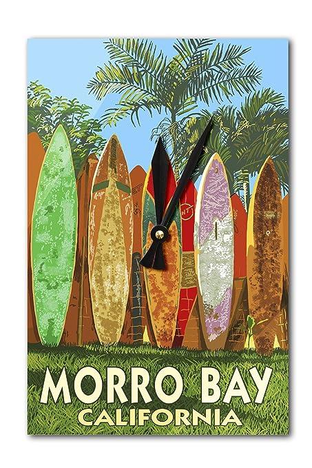 Morro Bay, California – Tabla de surf reloj de pared valla (acrílico)