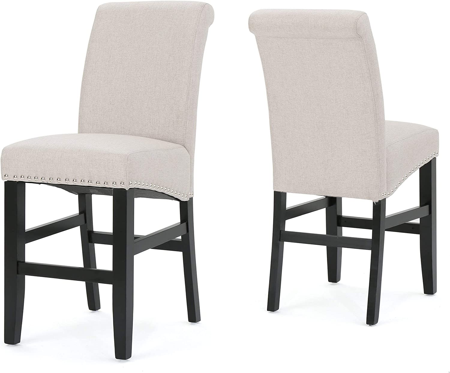 Christopher Knight Home 300873 Lisette Fabric Counter Stools, 2-Pcs Set, Wheat