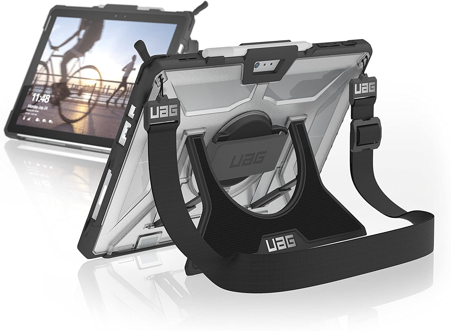URBAN ARMOR GEAR UAG Microsoft Surface Pro 7/Pro 6/Pro 5th Gen (2017) (LTE)/Pro 4 Plasma with Hand Strap & Shoulder Strap Plasma Rugged [Ice] Military Drop Tested Case