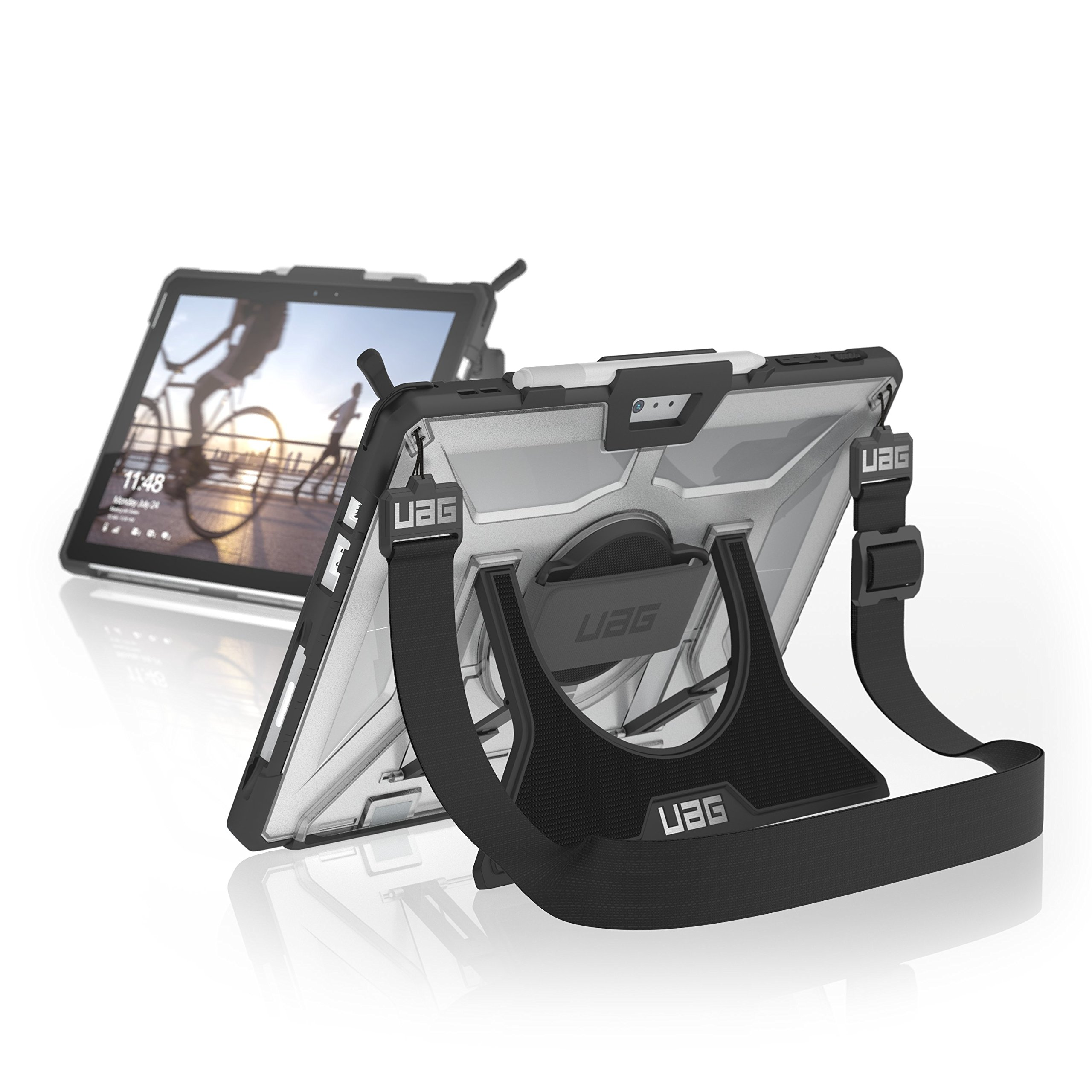 UAG Microsoft Surface Pro (2017) / Surface Pro 4 with Hand Strap & Shoulder Strap Plasma Feather-Light Rugged [ICE] Military Drop Tested Case by URBAN ARMOR GEAR