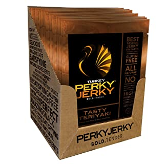 Perky Jerky Turkey Teriyaki, 1 ounce bags (Pack of 12)