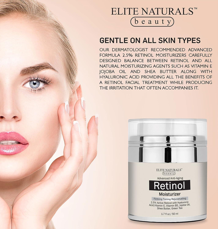 Retinol amounts in moisturizers - Amazon Com Elite Naturals Retinol Moisturizer Cream For Face And Eye Area With 2 5 Retinol Hyaluronic Acid Vitamin E Anti Aging Formula Reduces
