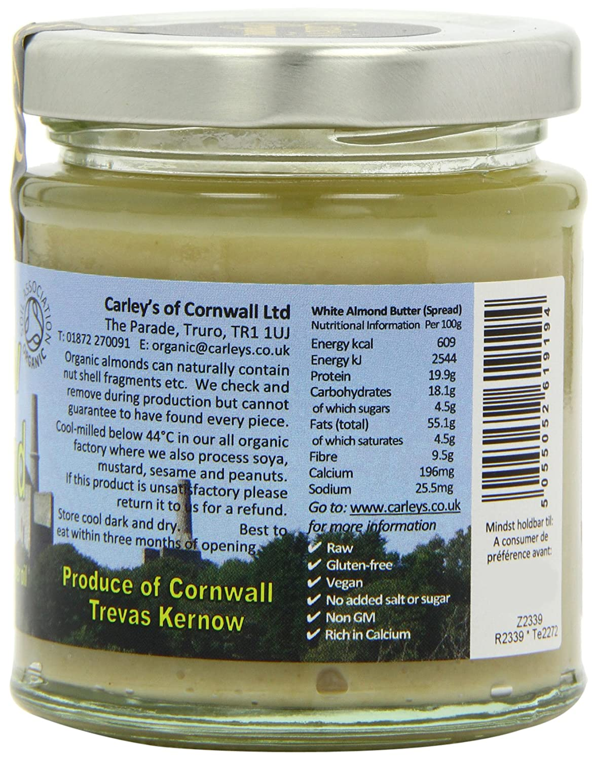 Amazon.com : Carleys Raw Organic White Almond Butter 170 g (Pack of 3) : Grocery & Gourmet Food