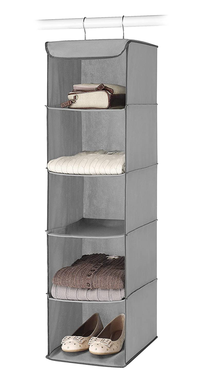 amazon com whitmor 5 section closet organizer hanging shelves rh amazon com wall hanging metal shelves hanging shelves metal wall studs