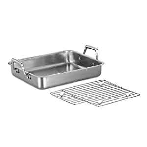 Tramontina 80203/003DS Gourmet Prima Rectangular Stainless Steel Roasting Pan with Basting Grill, 13.5-Inch, Made in Brazil