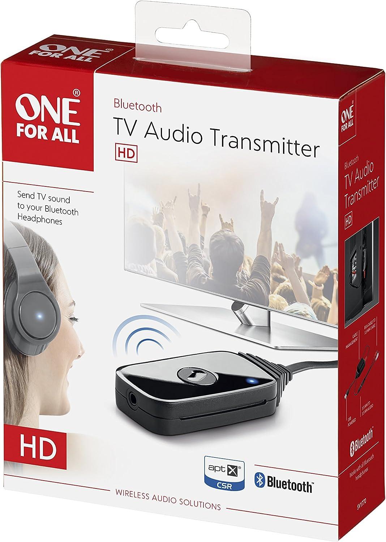 One For All SV1770, Transmisor de Audio TV, Envia el sonido del TV a tus auriculares Bluetooth, Alimentación via USB, negro: Amazon.es: Electrónica