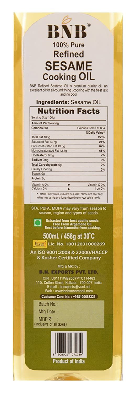 BNB Refined Sesame Cooking Oil, 500 ml: Amazon in: Grocery
