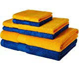 Solimo 100% Cotton 6 Piece Towel Set, 500 GSM (Iris Blue and Sunshine Yellow)