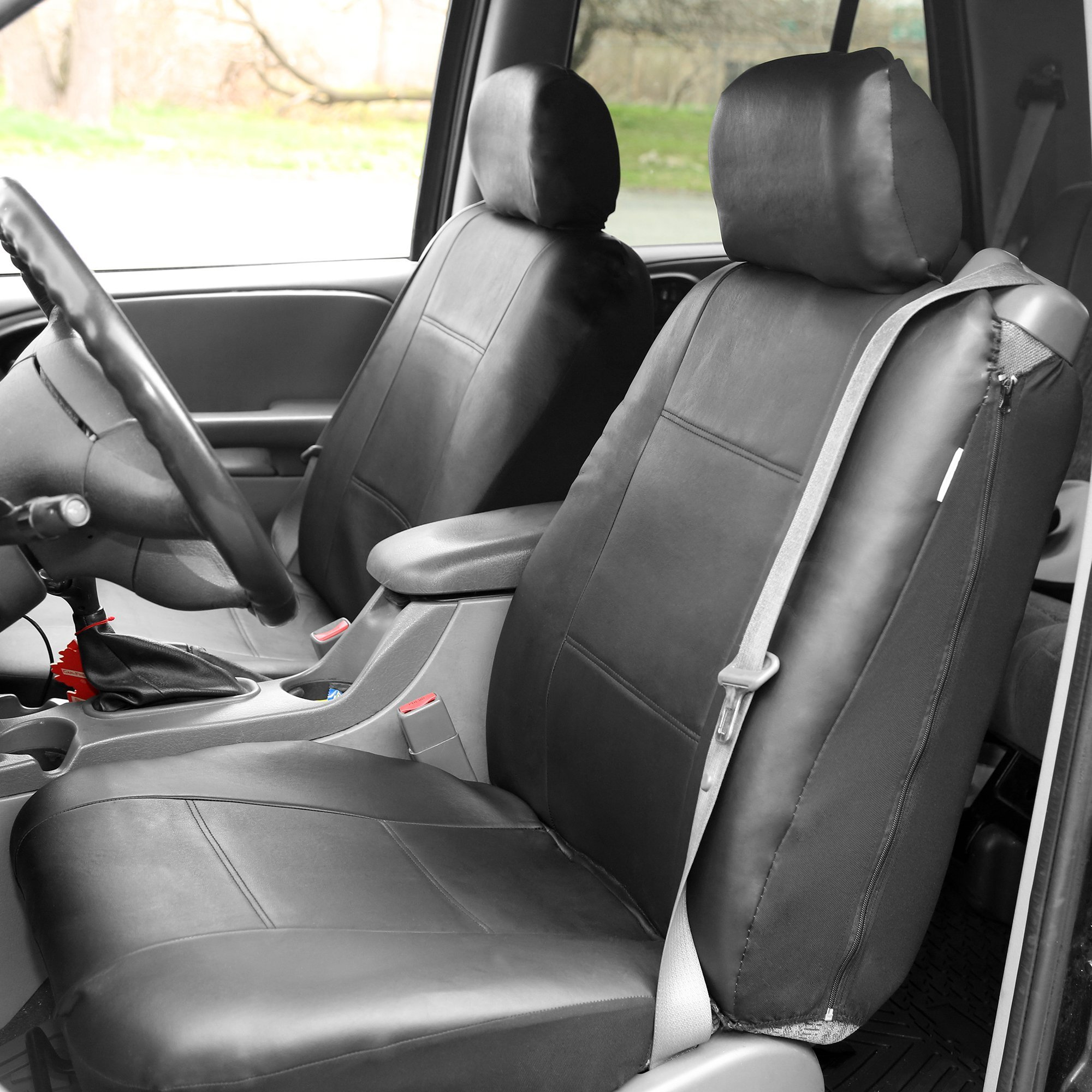 FH Group PU309GRAYBLACK102 Gray/Black Front PU Leather Seat Cover, Set of 2 (Built in Seat Belt Compatible Airbag Ready) by FH Group (Image #3)