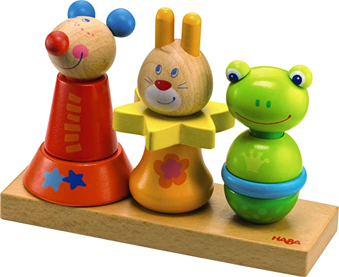 HABA Animal Trio - Mix & Match Wooden Stacking Toy for Ages 18 Months and Up
