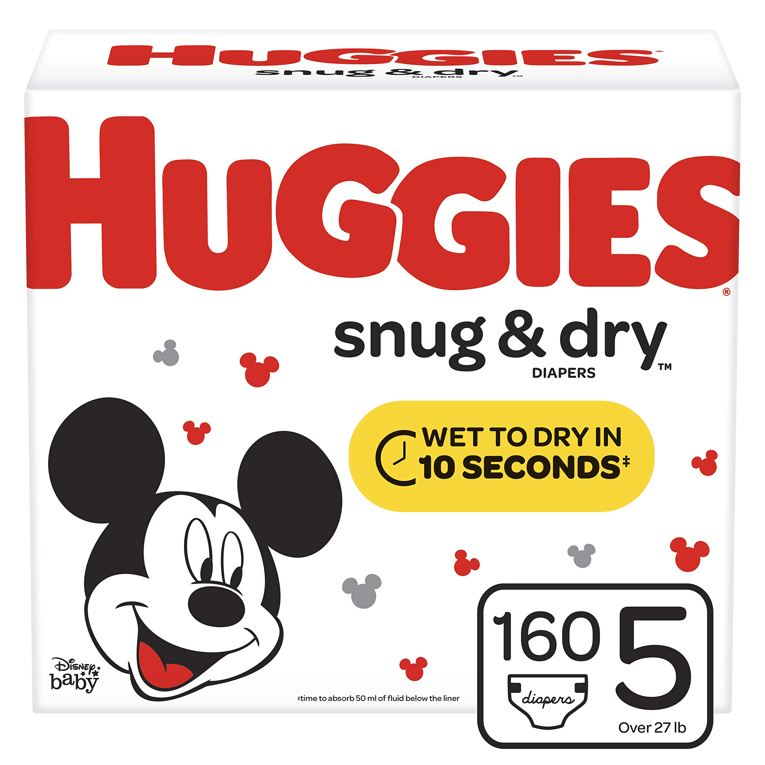 Huggies Snug & Dry Baby Diapers, Size 5 (fits 27+ lb.), 160 Count, ONE Month Supply (Packaging May Vary) by Huggies