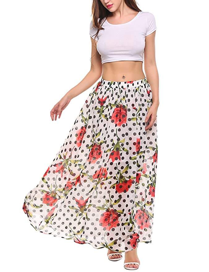 5e0d191f5f Amazon.com: Meaneor Bohemian Chiffon Skirt Women Pleated Vintage Floral  Print Long Maxi Skirt Beach Dress: Clothing