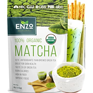 top selling Matcha Green Tea Powder 4oz - Organic Vegan Milky Taste USDA Certified - 137x Antioxidants Over Brewed Green Tea- Great for Matcha Latte