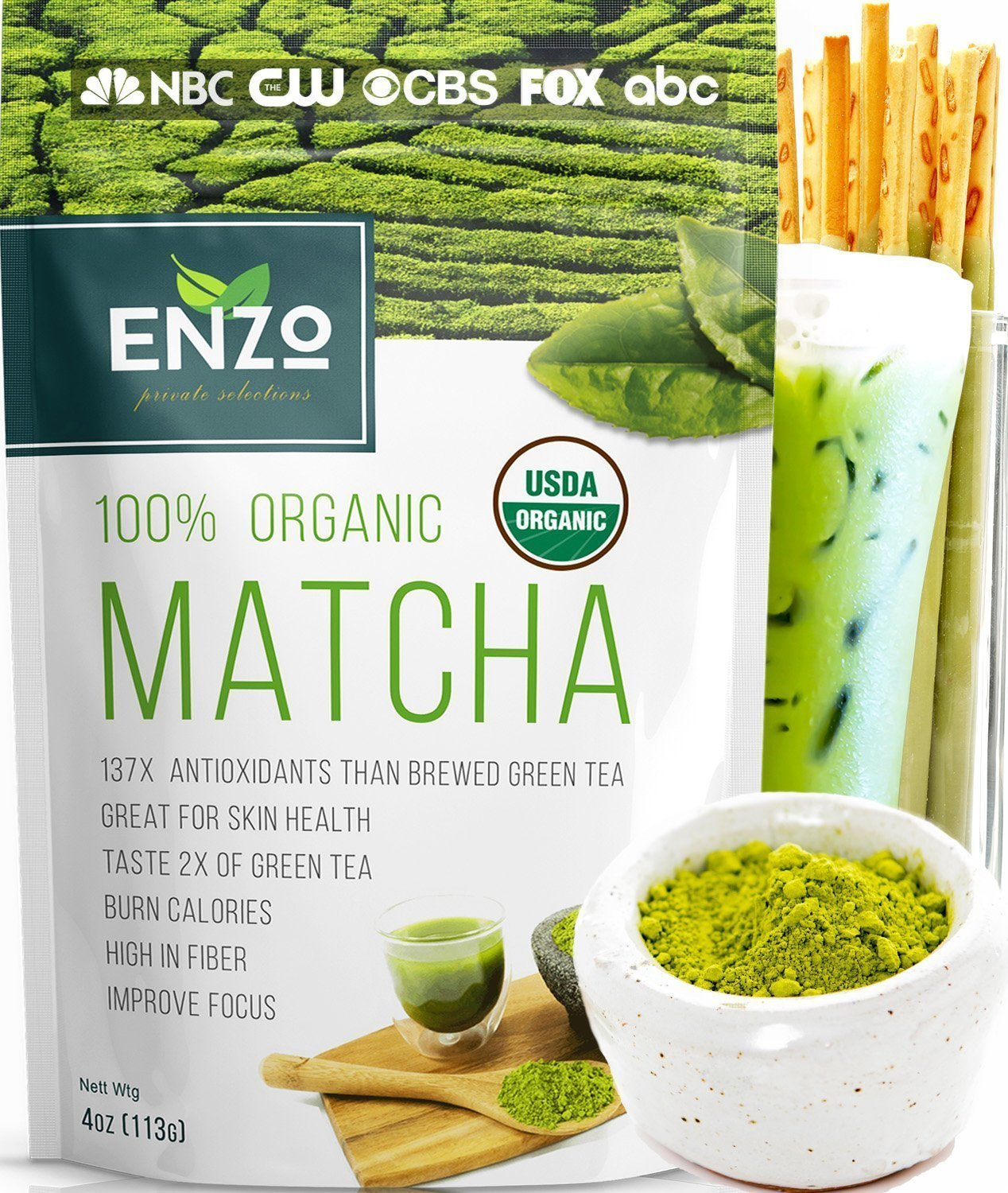 ad95db3f1ec10 Organic Matcha Green Tea Powder by Enzo Full with Strong Milky Flavour,  Easy to Dissolve in Hot...