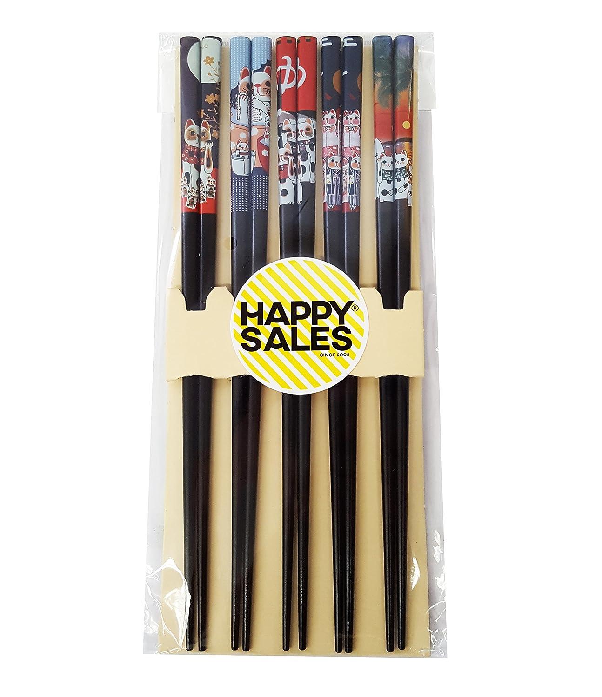 Happy Sales Fortune Cat Maneki Neko Black #7162 Wood Chopsticks HSCS-FCB15