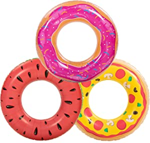 Inflatable Pool Floats (3 Pack), Watermelon Pizza, Donut Pool Tubes, Pool Toys for Kids and Adults, Beach Water Toys for Swimming Pool Party