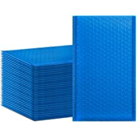 HBlife 50Pcs Bubble Mailers, 4x8 Inches Self Seal Blue Poly Mailers, Padded Envelopes Shipping Bags Packaging for Small…