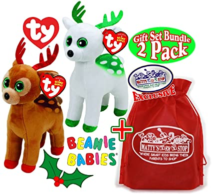 TY Beanie Babies  quot Christmas Reindeers quot  Tinsel (Brown Red)    Peppermint 086eb6945787