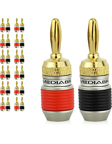 Mediabridge Banana Plugs - Corrosion-Resistant 24K Gold-Plated Connectors - 12 Pair/