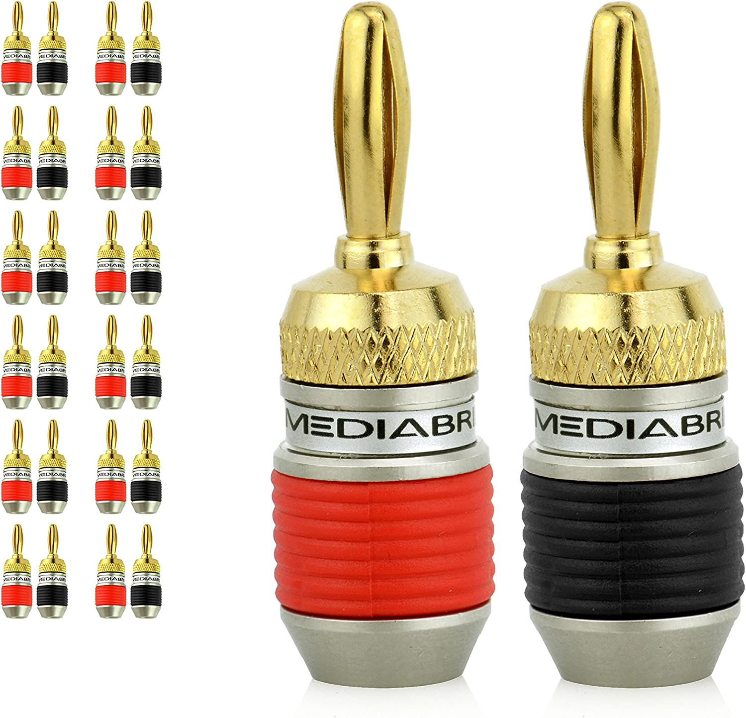 Mediabridge Banana Plugs - Corrosion-Resistant 24K Gold-Plated Connectors - 12 Pair/24 Banana Plugs (Part# SPC-BP2-12 )
