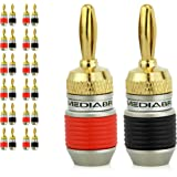 Mediabridge Banana Plugs - Corrosion-Resistant 24K Gold-Plated Connectors - 12 Pair/24 Banana Plugs (Part# SPC-BP2-12)