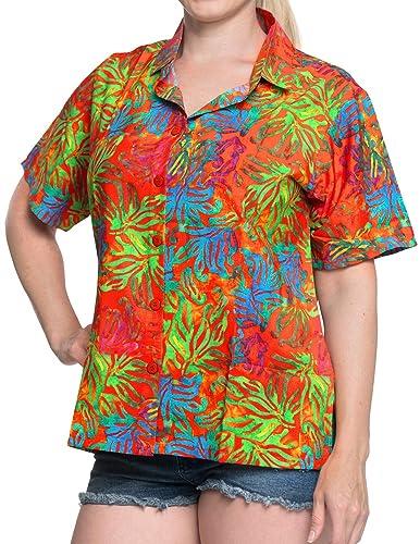 Hawaiano botón de la Camisa Blusas Mujeres aptas Abajo relajados Mangas Cortas Campo de múltiples