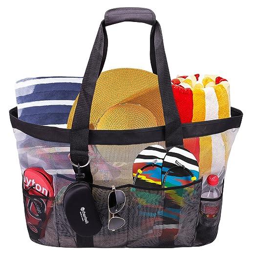 cherrboll Bolsa de Playa XL Bolsa de Malla de Gran tamaño para la Compra de Juguetes Piscina Gimnasio