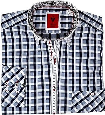 Leché - Camisa de manga larga, diseño a cuadros, color gris ...