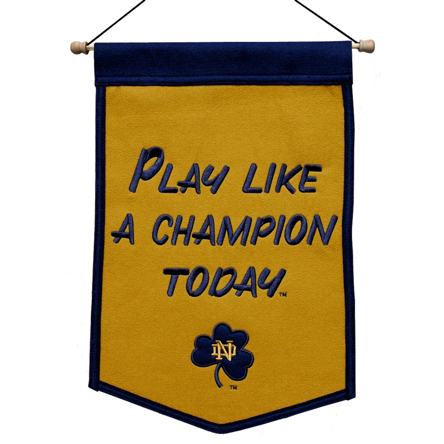 Notre Dame Fighting Irish NCAA Play Like A Champion Today Wool 12 X 18 Mini Banner by Caseys by Caseys