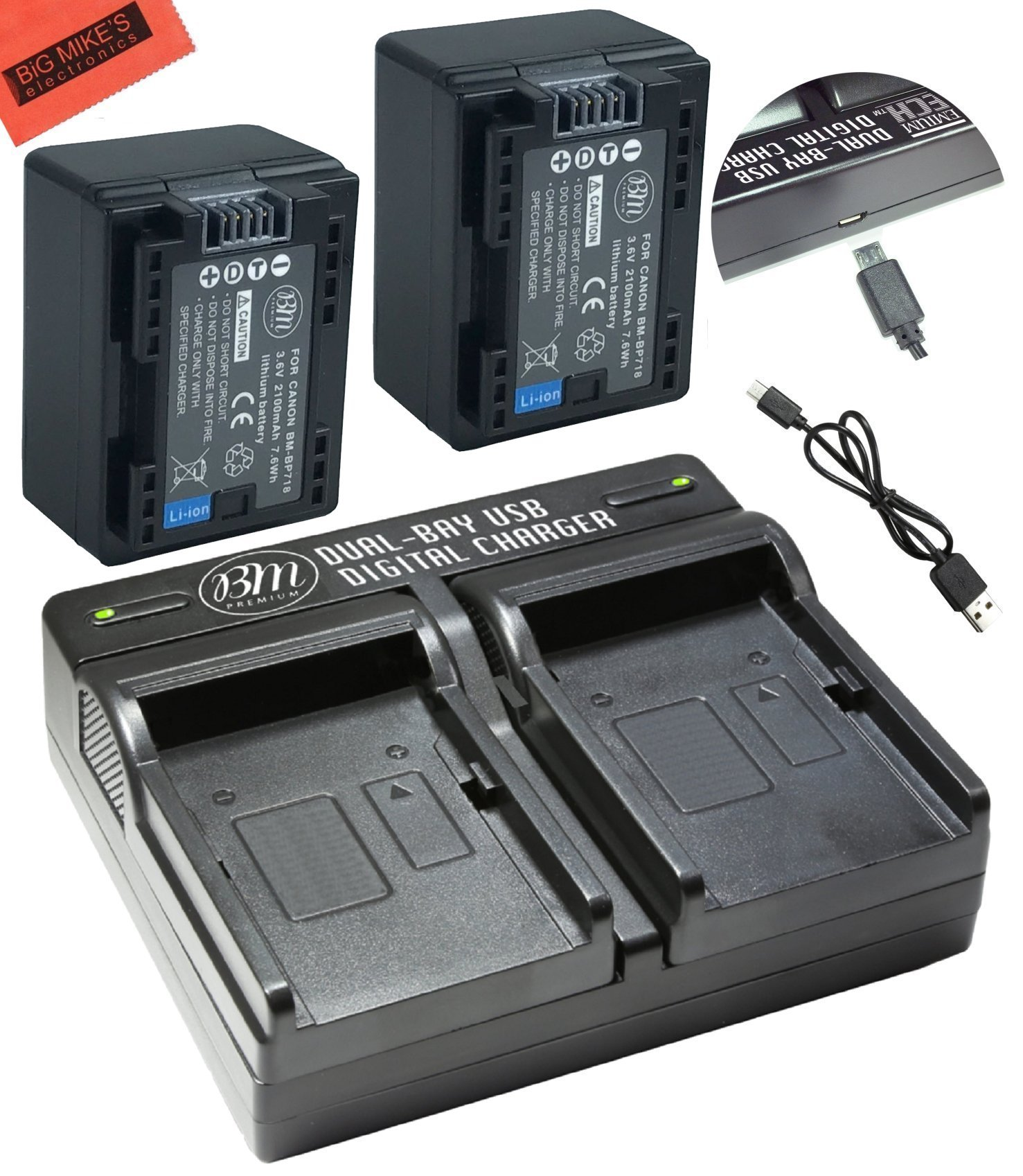 BM Premium 2 BP-718 Batteries and Dual Charger for Canon Vixia HFR80 HFR82 HFR800, HFR70, HFR72, HFR700, HFR32, HFR300, HFR40, HFR42, HFR400, HFR50, HFR52, HFR500, HFR60, HFR62, HFR600 Camcorder