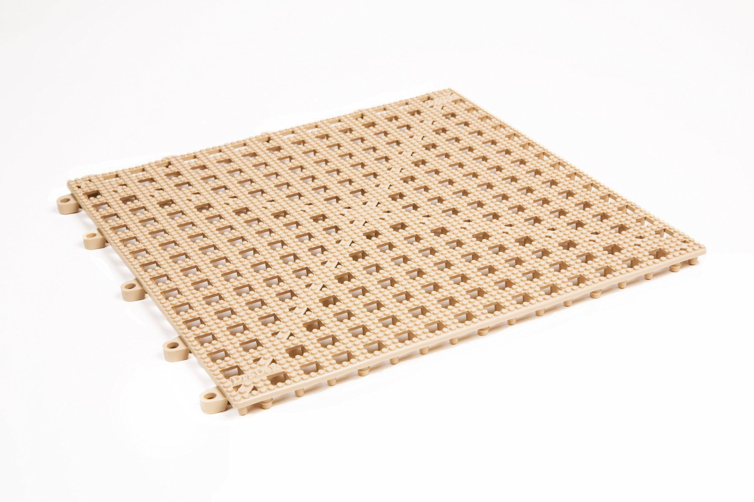 Dri-Dek 1'x1' Interlocking Tiles - Flexible Patio, Porch, Lanai, Balcony, Basement & Pool Deck Flooring (1'x1' Tiles - 25-Pack, Almond)