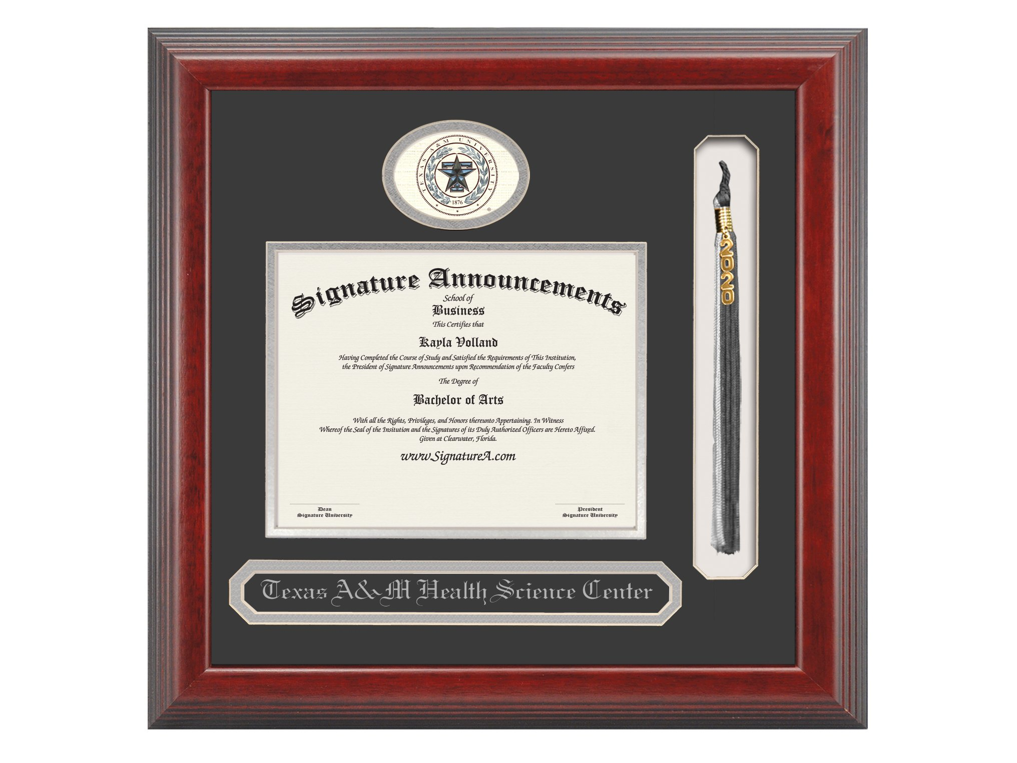 Signature Announcements Texas-a&M-Health-Science-Center-College-of-Nursing Undergraduate, Doctorate Sculpted Foil Seal, Name & Tassel Graduation Diploma Frame, 23'' x 24'', Cherry by Signature Announcements (Image #1)