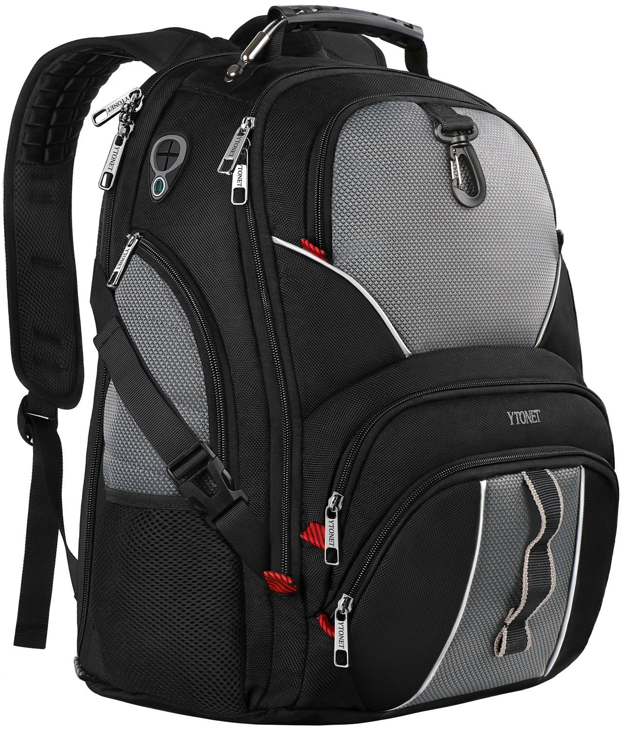 Travel Laptop Backpack, Large Computer Backpack Bag Fits 17 inch Laptop for Men Women for Hiking/School / College, Black TSA Smart Scan Bookbag with 9 Compartments Made of Water-Resistant Fabric by Ytonet (Image #1)