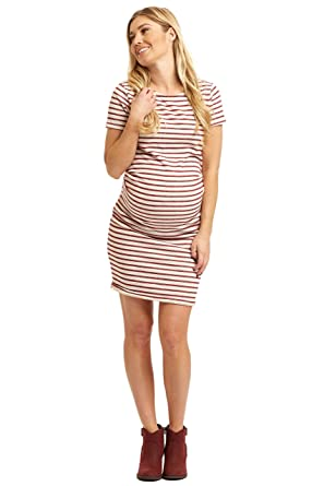 d2f9a620dc5a2 PinkBlush Maternity Striped Fitted Short Sleeve Dress at Amazon Women's  Clothing store: