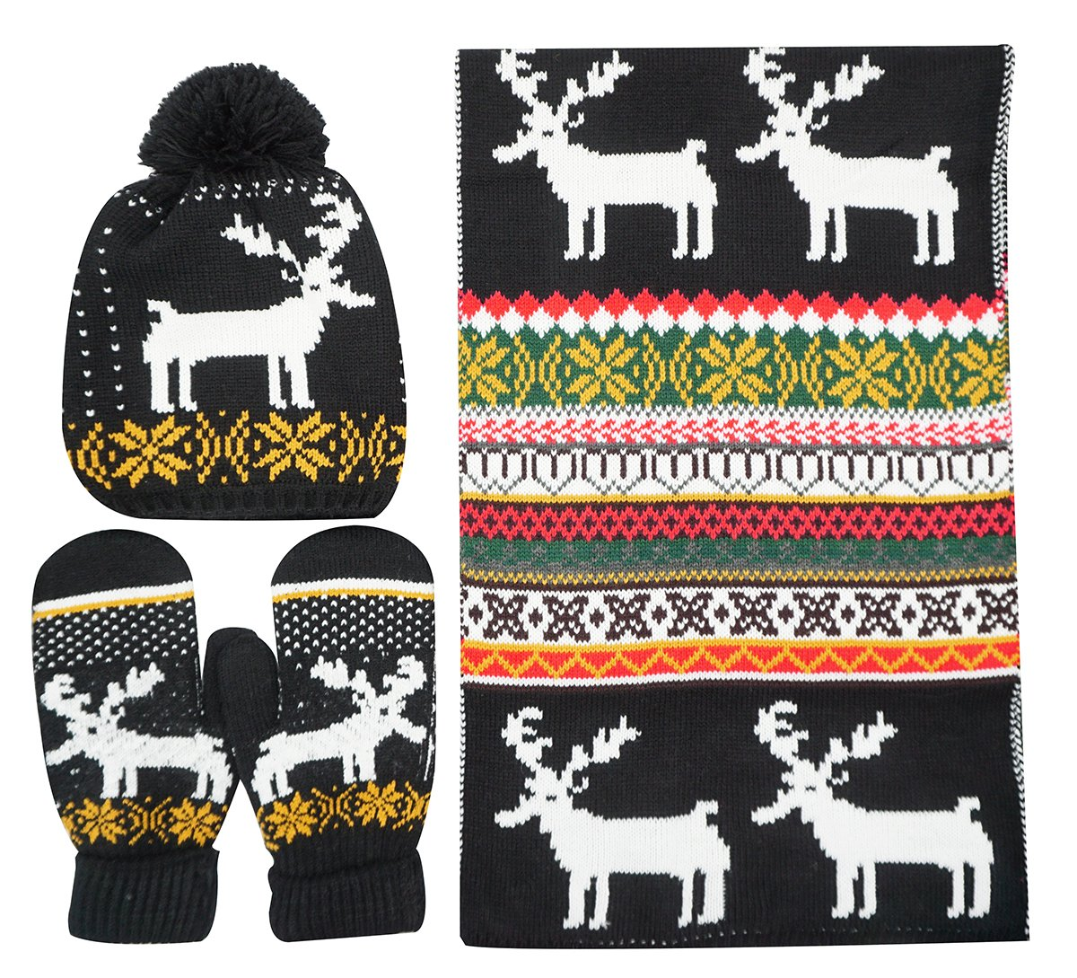 Bienvenu Women Scarf & Glove Set, Knitted Snowflake Deer Detail & Matching Cap,Black