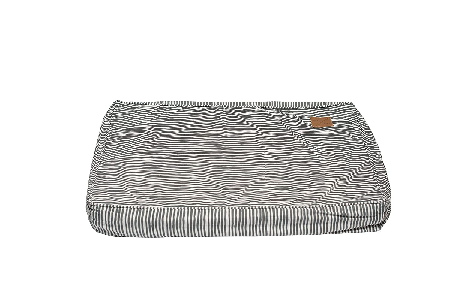 Small MOG & BONE Classic Cushion Dog Bed Grey Stripe Print Small