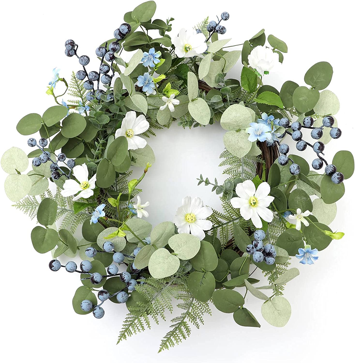 Frdsomar 24inch Large Spring Wreaths for FrontDoor, Artificial Eucalyptus Wreath with Blueberry and Flower Wreath for Indoor Outdoor, Spring, Summer, Window, Wall, Home Decor